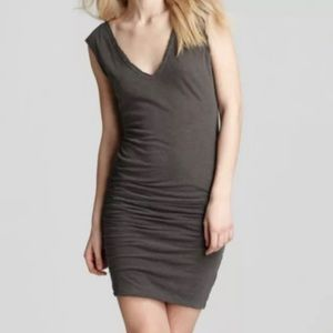 James Perse Gray V-Neck Ruched Sleeveless Dress